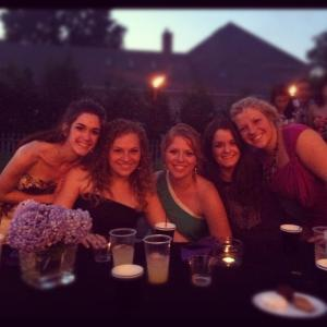Kim got married this summer! Here are all of us at her rehearsal dinner. From L: Amy, Rachael, Jen, me and Kim