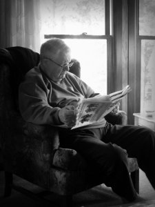 Reading in the Eagle River cabin
